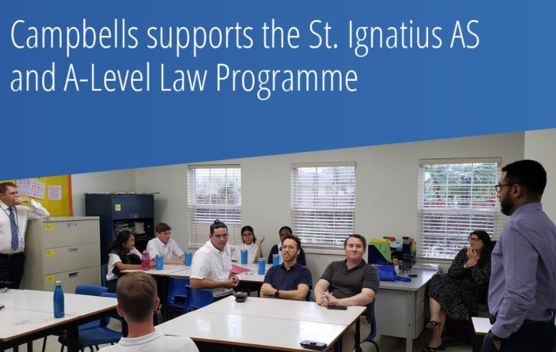 Campbell supports the St. Ignatius AS and A-Level Law Programme