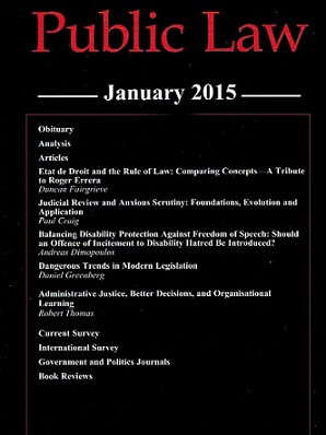 O'Brien and Minty publish article in Public Law (PL) journal